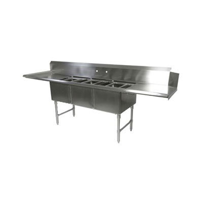 "John Boos DT3B18244-2D24L 103"" Clean Dishtable w/ (3) 18x24x14"" Bowls & (2) 24"" Drainboards, L to R"