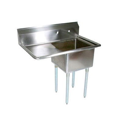 John Boos E1S8-18-12L18 38.5-in Sink, (1) 18x18x12-in Bowl, 18-in Drainboard, Galvanized Legs, L to R