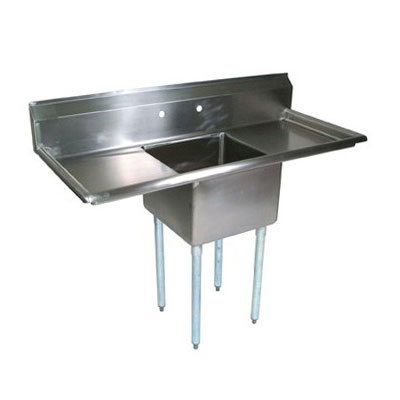 John Boos E1S8-1620-12T18 52-in Sink, (1) 16x20x12-in Bowl, (2) 18-in Drainboards, Galvanized Legs