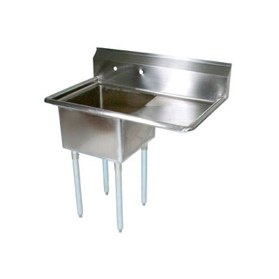 """John Boos E1S8-18-12R18 38.5"""" 1-Compartment Sink w/ 18""""L x 18""""W Bowl, 12"""" Deep"""