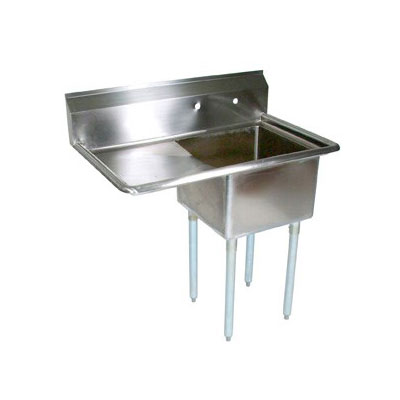 John Boos E1S8-1824-14L24 42-in Sink, (1) 18x24x14-in Bowl, 24-in Drainboard, Galvanized Legs, L to R
