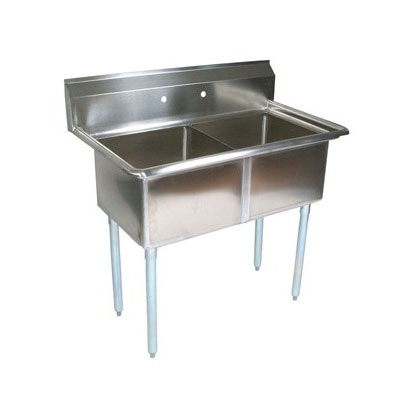 John Boos E2S8-18-12 41-in Sink w/ (2) 18 x 18 x 12-in Bowl, Galvanized Legs