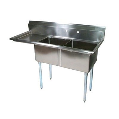 John Boos E2S8-1620-12L18 52.5-in Sink, (2) 16x20x12-in Bowl, 18-in Drainboard, Galvanized Legs, L to R