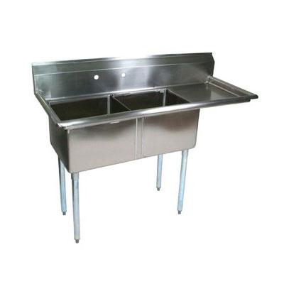 """John Boos E2S8-1620-12R18 52.5"""" 2-Compartment Sink w/ 16""""L x 20""""W Bowl, 12"""" Deep"""