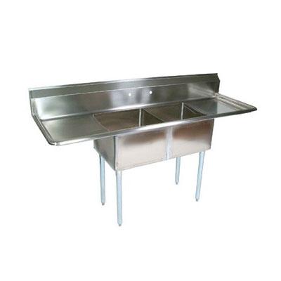 "John Boos E2S8-1620-12T18 68"" 2-Compartment Sink w/ 16""L x 20""W Bowl, 12"" Deep"