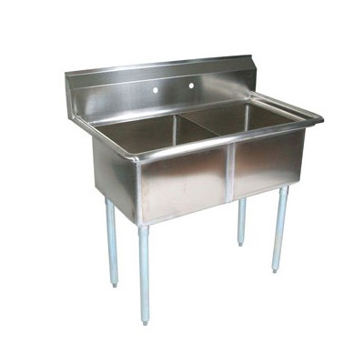 John Boos E2S8-24-14 53-in Sink w/ (2) 24 x 24 x 14-in Bowl, Galvanized Legs