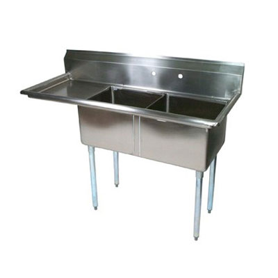 "John Boos E2S8-24-14R24 74.5"" 2-Compartment Sink w/ 24""L x 24""W Bowl, 14"" Deep"