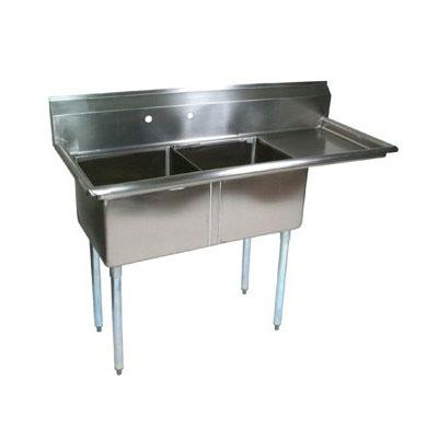 """John Boos E2S8-24-14R24 74.5"""" 2-Compartment Sink w/ 24""""L x 24""""W Bowl, 14"""" Deep"""