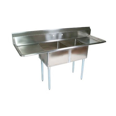 "John Boos E2S8-24-14T24 96"" 2-Compartment Sink w/ 24""L x 24""W Bowl, 14"" Deep"