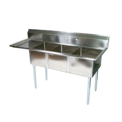 "John Boos E3S8-1014-10L15 47.5"" 3-Compartment Sink w/ 10""L x 14""W Bowl, 10"" Deep"