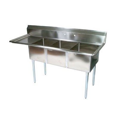 "John Boos E3S8-15-14L15 62.5"" 3-Compartment Sink w/ 15""L x 15""W Bowl, 14"" Deep"