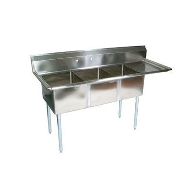 "John Boos E3S8-15-14R15 62.5"" 3-Compartment Sink w/ 15""L x 15""W Bowl, 14"" Deep"