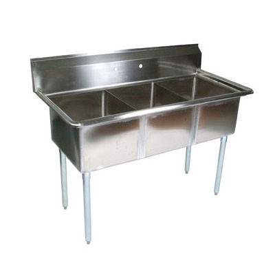 John Boos E3S8-18-12 59-in Sink w/ (3) 18 x 18 x 12-in Bowl, Galvanized Legs