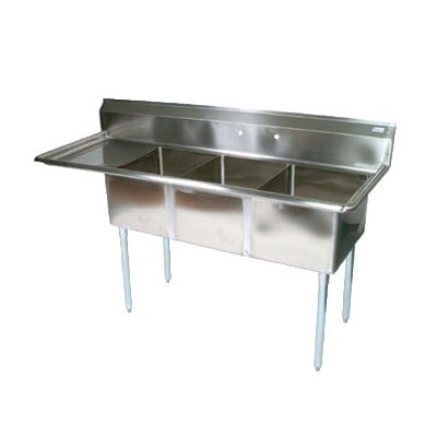 John Boos E3S8-1620-12R18 68.5-in Sink, (3) 16x20x12-in Bowl, 18-in Drainboard, Galvanized Legs, R to L