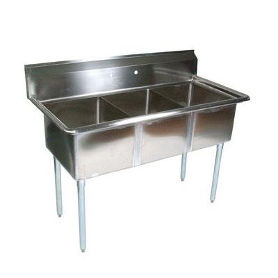 "John Boos E3S8-18-12 59"" 3-Compartment Sink w/ 18""L x 18""W Bowl, 12"" Deep"