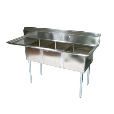 "John Boos E3S8-18-12L18 74.5"" 3-Compartment Sink w/ 18""L x 18""W Bowl, 12"" Deep"