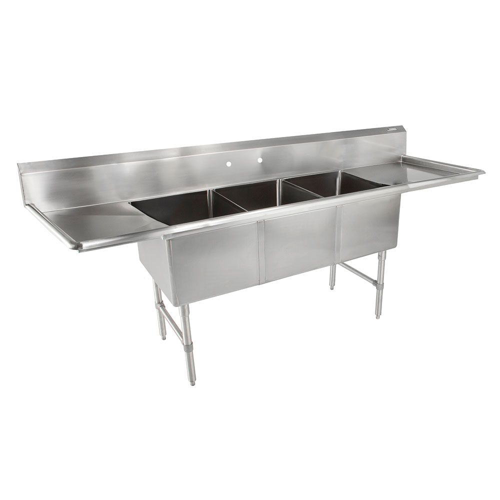 John Boos E3S8-1824-14T24 104-in Sink, (3) 18x24x14-in Bowl, (2) 24-in Drainboards, Galvanized Legs