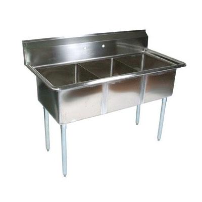 "John Boos E3S8-24-14 77"" 3-Compartment Sink w/ 24""L x 24""W Bowl, 14"" Deep"