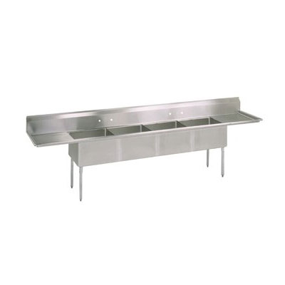 John Boos E4S8-1620-14T18 100-in Sink, (4) 24x24x14-in Bowl, (2) 24-in Drainboards, Galvanized Legs