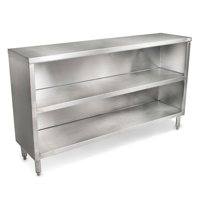 John Boos EDSC8-1872 Dish Storage Cabinet w/ Fixed Mid-Shelf, 18-ga Stainless, 72 x 18-in