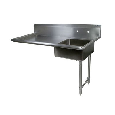 "John Boos EDTS8-S30-50UCR 50"" Undercounter Soiled Dishtable w/ 18-ga Stainless Legs, R to L"