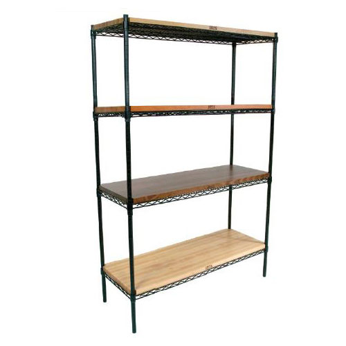 John Boos EP-143674-BK Epoxy Coated Wire Shelving Unit w/ (4) Levels, 14x36x74""