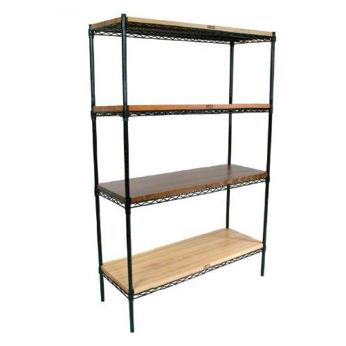 John Boos EP-183674-BK Epoxy Coated Wire Shelving Unit w/ (4) Levels, 18x36x74""