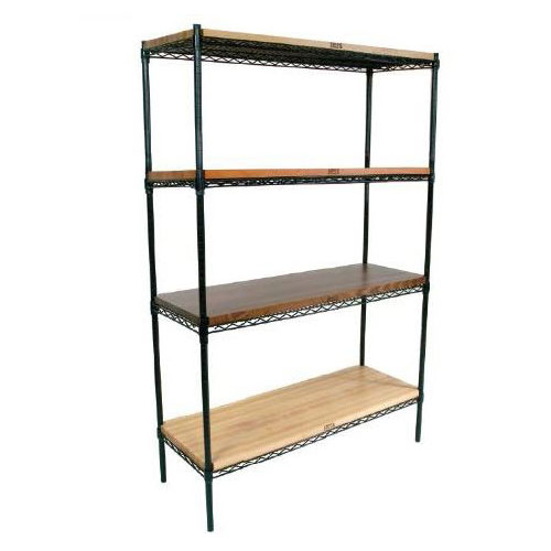 John Boos EP-214874-BK Epoxy Coated Wire Shelving Unit w/ (4) Levels, 21x48x74""