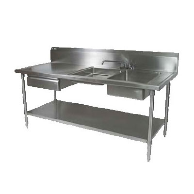 "John Boos EPT6R10-DL2B-72R 72"" Prep Table w/ (1) 16x20x8"" & (1) 16x 20x4"" Right-Side Bowl, Deck Mount"