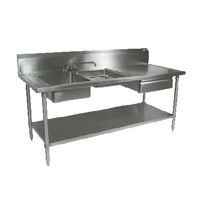 "John Boos EPT6R10-DL2B-96L 96"" Prep Table w/ (1) 16x20x8"" & (1) 16x 20x4"" Left-Side Bowl, Deck Mount"