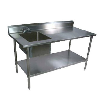 "John Boos EPT6R5-3072SSK-L 72"" Prep Table w/ Left-Side Sink & Deck Mount Faucet, Stainless Undershelf"