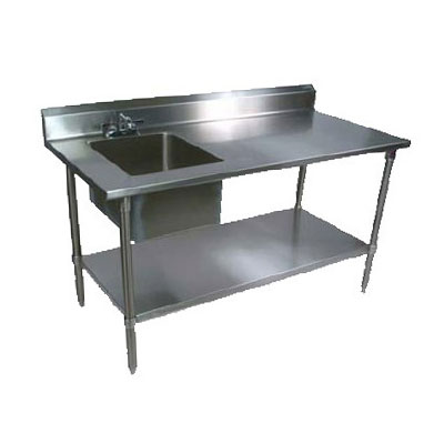 "John Boos EPT6R5-3060SSK-L 60"" Prep Table w/ Left-Side Sink & Deck Mount Faucet, Stainless Undershelf"
