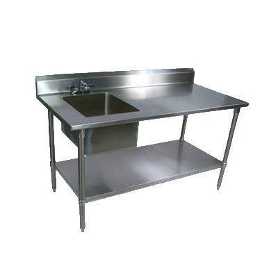 "John Boos EPT8R5-3060GSK-L 60"" Work Table w/ (1) Left Bowl, Galvanized Legs"