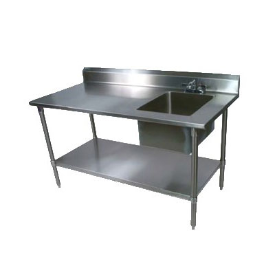 "John Boos EPT8R5-3060GSK-R 60"" Work Table w/ (1) Right Bowl, Galvanized Legs"