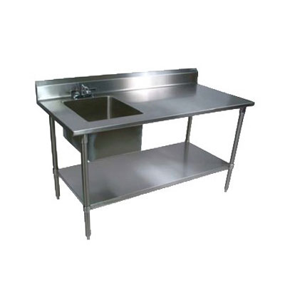 "John Boos EPT8R53060SSKL Work Table w/ 1-Bowl & Splash Mount Faucet, 60X30"", Stainless Bullet Feet"