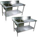 "John Boos EPT8R5-3072GSK-R 72"" Work Table w/ (1) Right Bowl, Galvanized Legs"