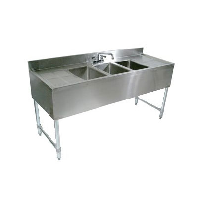 "John Boos EUB2S36-1LD 36"" Bar Sink w/ (2) 10x14x10"" Bowl, 4"" Faucet, Left Side Drainboard"