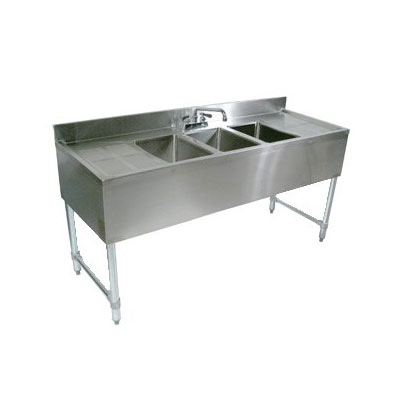 John Boos EUB2S36-1RD 36-in Bar Sink w/ (2) 10x14x10-in Bowl, 4-in Faucet, Right Side Drainboard