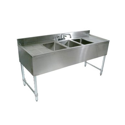 John Boos EUB2S48-1LD 48-in Bar Sink w/ (2) 10x14x10-in Bowl, 4-in Faucet, Left Side Drainboard