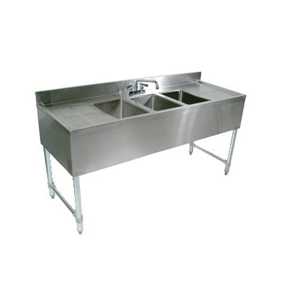 "John Boos EUB2S48-1RD 48"" Bar Sink w/ (2) 10x14x10"" Bowl, 4"" Faucet, Right Side Drainboard"