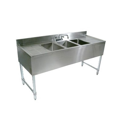 "John Boos EUB3S48-1RD 48"" Bar Sink w/ (3) 10x14x10"" Bowl, 4"" Faucet, Right Side Drainboard"