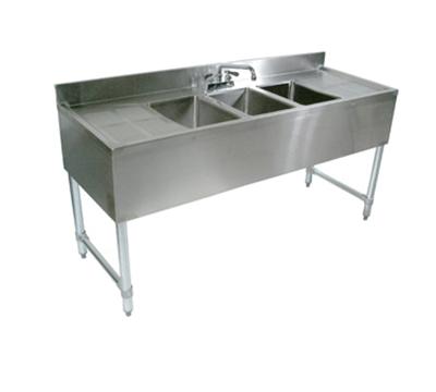"""John Boos EUB3S48SL-1LD 48"""" 3-Compartment Sink w/ 10""""L x 14""""W Bowl, 10"""" Deep"""