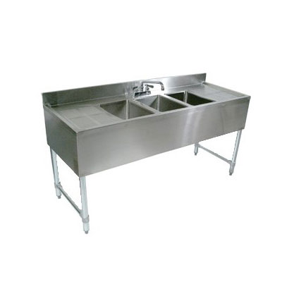 "John Boos EUB3S48SL-1RD 48"" 3-Compartment Sink w/ 10""L x 14""W Bowl, 10"" Deep"