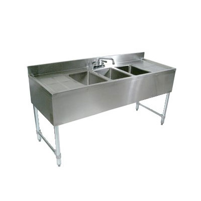 "John Boos EUB3S60-1RD 60"" 3-Compartment Sink w/ 10""L x 14""W Bowl, 10"" Deep"