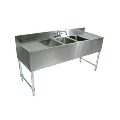"John Boos EUB3S60-2D 60"" Bar Sink w/ (3) 10x14x10"" Bowl, 4"" Faucet, (2) Drainboards"