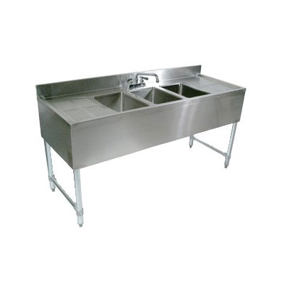 "John Boos EUB3S72-2D 72"" Bar Sink w/ (3) 10x14x10"" Bowl, 4"" Faucet, (2) Drainboards"