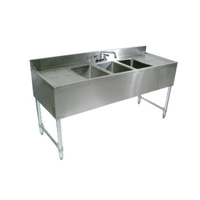 "John Boos EUB4S84SL-2D 84"" Underbar Sink Unit w/ (4) Compartments & 19"" Left & Right Drainboards, Galvanized Legs"