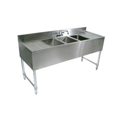 "John Boos EUB4S96SL-2D 96"" Underbar Sink Unit w/ (4) Compartments & 25"" Left & Right Drainboards, Galvanized Legs"