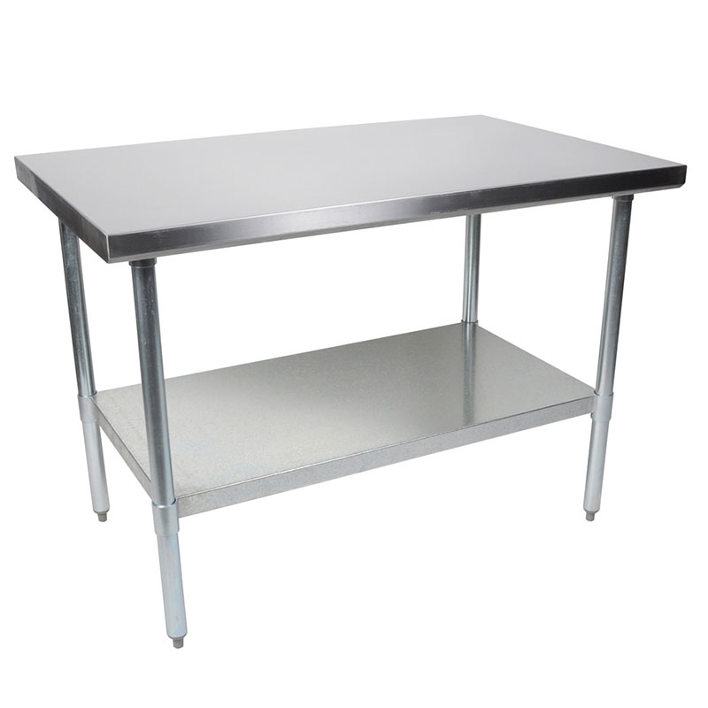 John Boos FBLG9624 Flat Top Work Table w/ Galvanized Legs & Adjustable Undershelf, 96 x 24-in