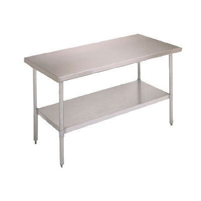 "John Boos FBLG4824 48"" 18-ga Work Table w/ Undershelf & 430-Series Stainless Flat Top"
